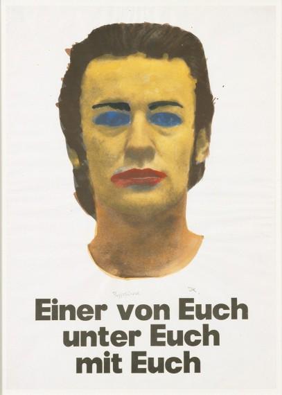 Martin Kippenberger, 'Einer von Euch, Unter Euch, Mit Euch', Portrait Martin Kippenberger (Übermalung mit Wasserfarben von Jochen Krüger), 1977. © Estate Martin Kippenberger, Galerie Gisela Capitain, Köln