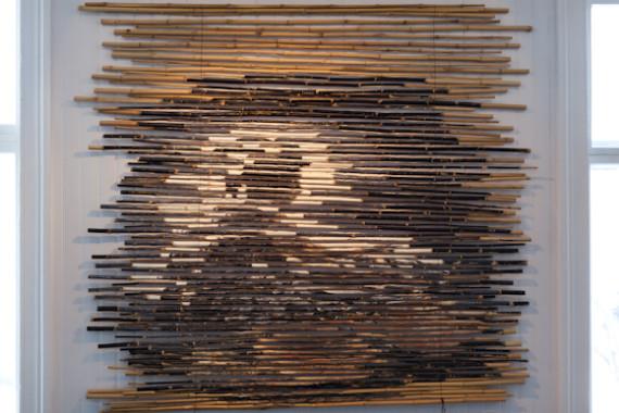 Serhed Waledkhani '50 nan' olje på bambus (2012).