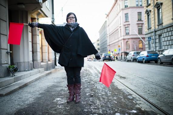3.Semaphore Flag Signaling in Punavuori, Helsinki. Photo: Veikko Somerpuro