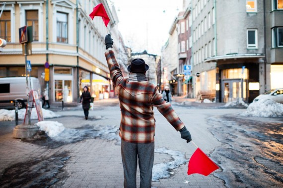 Semaphore Flag Signaling in Punavuori, Helsinki. Photo: Veikko Somerpuro