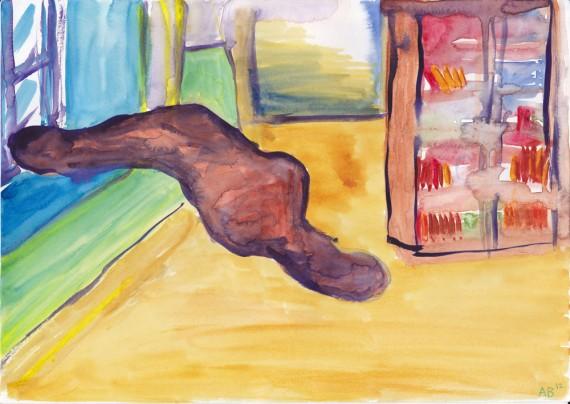 Andrea Bakketun. Akvarell fra Withstanding the Shatter of Origins (Artist book), 2013