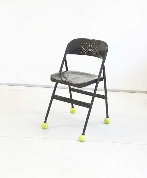 Tor SR Thidesen, (I/III) a chair with four distracting elements imposed (oral stage), 2013.