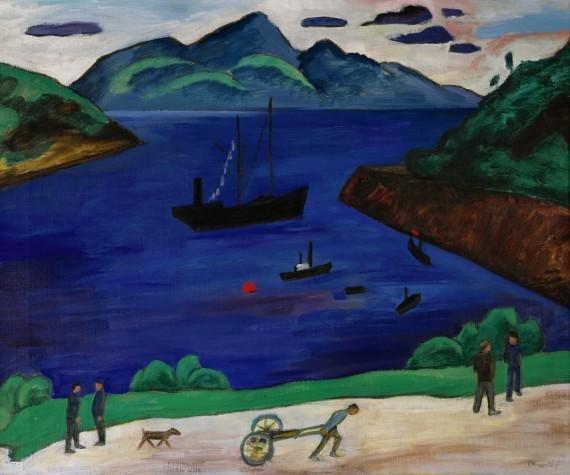 Gabriele Münter: Der Hafen von Narvik, 1916, olje på lerret, 50,6x61,3cm. ©Sparebankstiftelsen DNB
