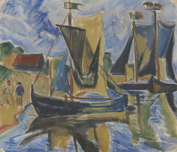 Max Pechstein: Keitelkähne, 1919, olje på lerret, 70,5x80,5cm. ©Sparebankstiftelsen DNB