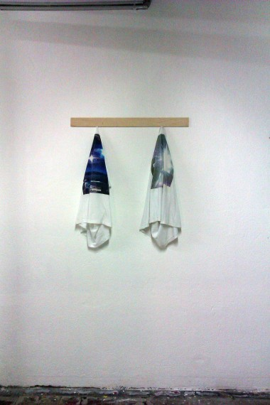 'Untitled (The t-shirt series)' Photo print n cotton t-shirt, pine beam, variable dimensions, 2012