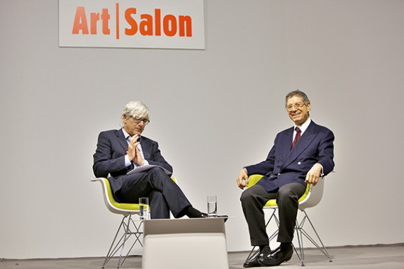 Jeffrey Deitch, on right, in conversation with Josh Baer: Blurring Lines Between Culture and Commerce © Art Basel 2012. Courtesy of Art Basel.