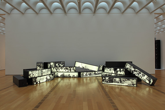 Alfredo Jaar The Fire Next Time (1989). Twenty-two light boxes with black and white transparencies. Copyright: Alfredo Jaar.  Courtesy of the artist and The High Museum of Art, Atlanta.  Photo: Mike Jensen