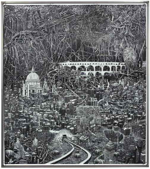Viktor Rosdahl: Stuyvesant/Cooper Village, oil on shade in metal frame 170×135 cm, 2013