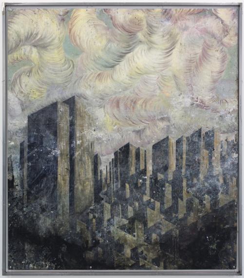 Viktor Rosdahl: Stuyvesant/Cooper Village, oil on shade in metal frame 170×135 cm, 2013. Backside.