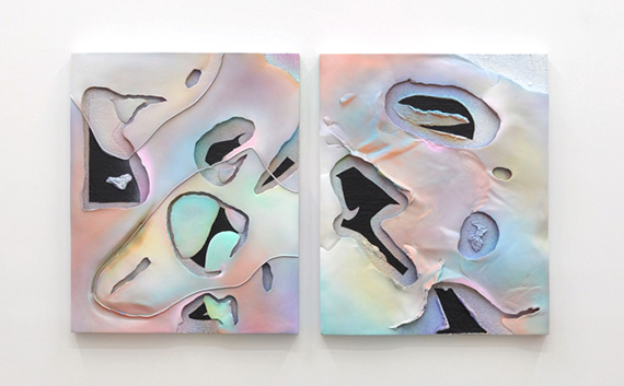"""Cole Sayer: It's hard to know what to do to oppose everything 1 and 2 (2012), Acrylic on plaster, 32"""" x 26"""" x 3.5"""". Courtesy of the artist and Michael Jon Gallery, Miami"""