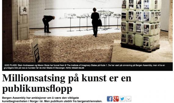 Skjermdump fra Bergens Tidendes (BT.no) sak om lave besøkstall på Bergen Assembly