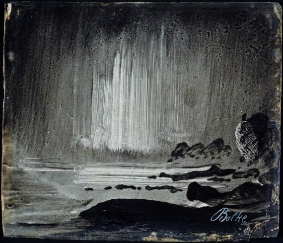 Peder Balke (1804-1887), Nordlys over klippekyst, ca. 1870. 10,5 x 12 cm. Olje på papir, oppklebet på plate. Nasjonalmuseet for Kunst, Arkitektur og Design, Oslo