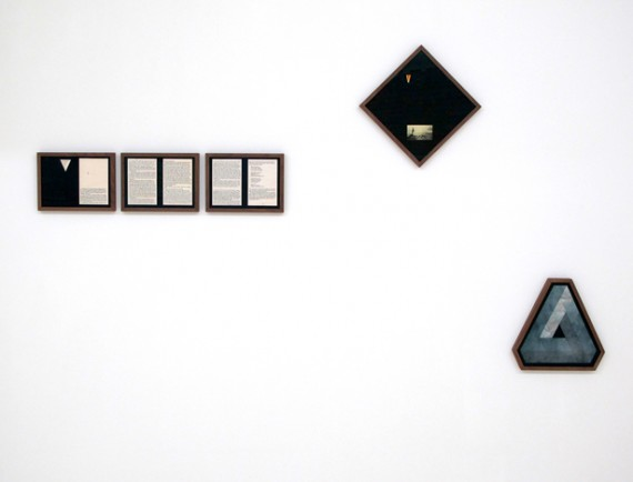 The Letter V in Various Media 1963-1998. Collage and varnish on paper. Five images mounted in rectangular, square and polygonal frame(s) with passepartout. Rectangular images: 22,7 x 31,7 cm, square image: 35 x 35 cm, polygonal image: 34 x 34 x 34 cm. 2012. Photo: Dillan Marsh