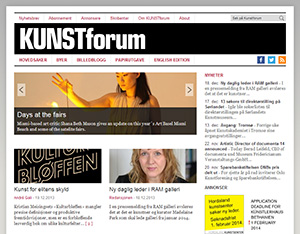 Kunstforums nettside slik den så ut tidligere.