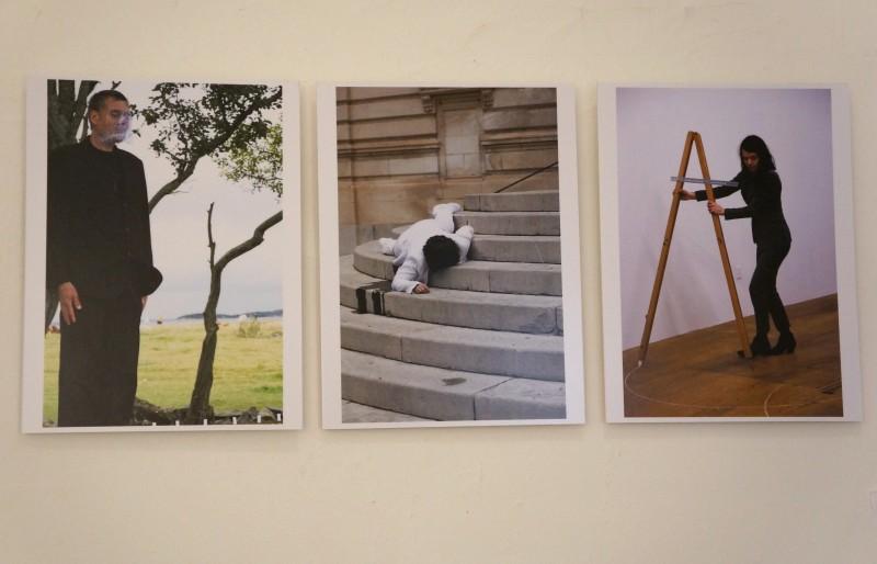 Stillbilder fra diverse performancer. Fra venstre: Kurt Johannessen, Molly Haslund, Rita Marhaug.
