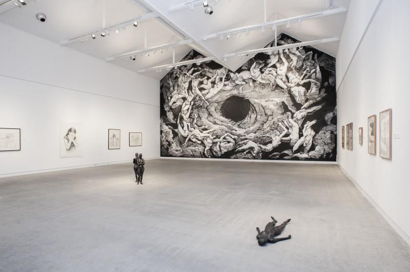 Johannes Høie og Filippa Barkmann, Limbo, Grenland kunsthall. Installasjonsfoto. Foto: Stina Glømmi