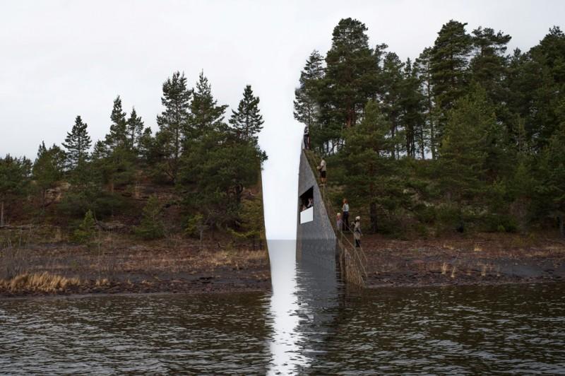 Jonas Dahlbergs forslag til minnesmerke på Utøya. Illustrasjon © Jonas Dahlberg Studio
