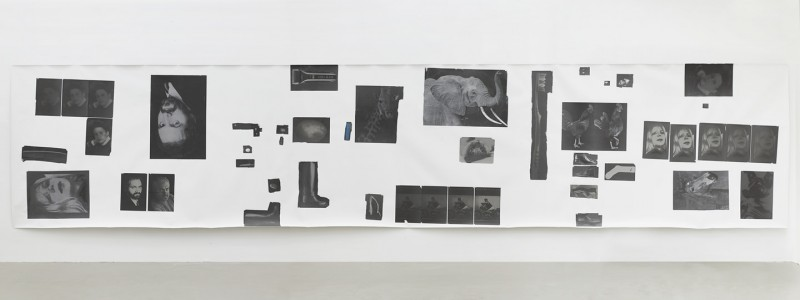 Henrik Olesen, Hysterical Men 3, 2014. Canvas, inkjet print on proof paper ZP 55 (newspaper), 55 gouache/m2, Amsterdam gel medium matt glue, 210 x 1,000 cm.  Courtesy Galerie Buchholz, Berlin/Cologne.