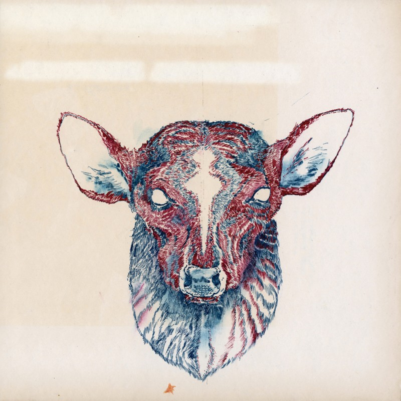 Fawad Khan: Deer Head I (2014). Ink on found paper mounted on panel, 10 x 10 inches. Courtesy of the artist and Lu Magnus, New York. Photo: Etienne Frossard