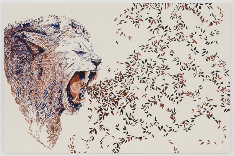 Fawad Khan: The Cathartic Lion (2014). Acrylic on panel, 60 x 90 inches. Courtesy of the artist and Lu Magnus, New York. Photo: Etienne Frossard