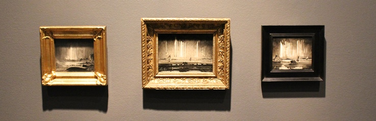 Nordlys over klippekyst (ca 1870), olje på papir oppklebet på papp-plate, 10.5x12 cm, Nasjonalmuseet for kunst, arkitektur og design, Oslo + Nordlys (ca 1870), olje på treplate, 10.5x15.5 cm, privat eie + Nordlyset (1870-årene), olje på plate, Hearn Family Trust, New York