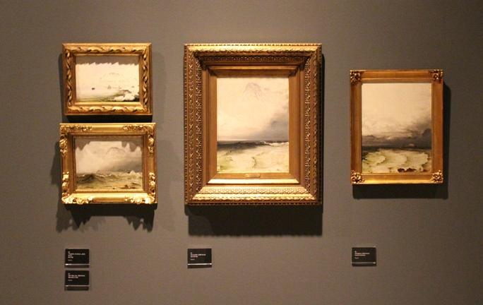 Strandparti (1860-årene), olje på plate, 33.5x25.5 cm, privat eie + Hav og tåke (1860-årene), olje på papir og oppklebet på plate, 34.5x26 cm, privat eie