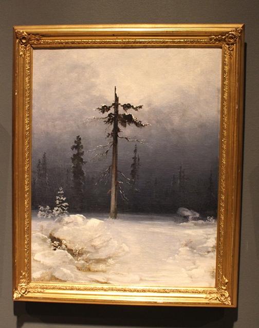 Tre i vinterskog (1850-årene), olje på lerret, 60x48 cm, privat eie