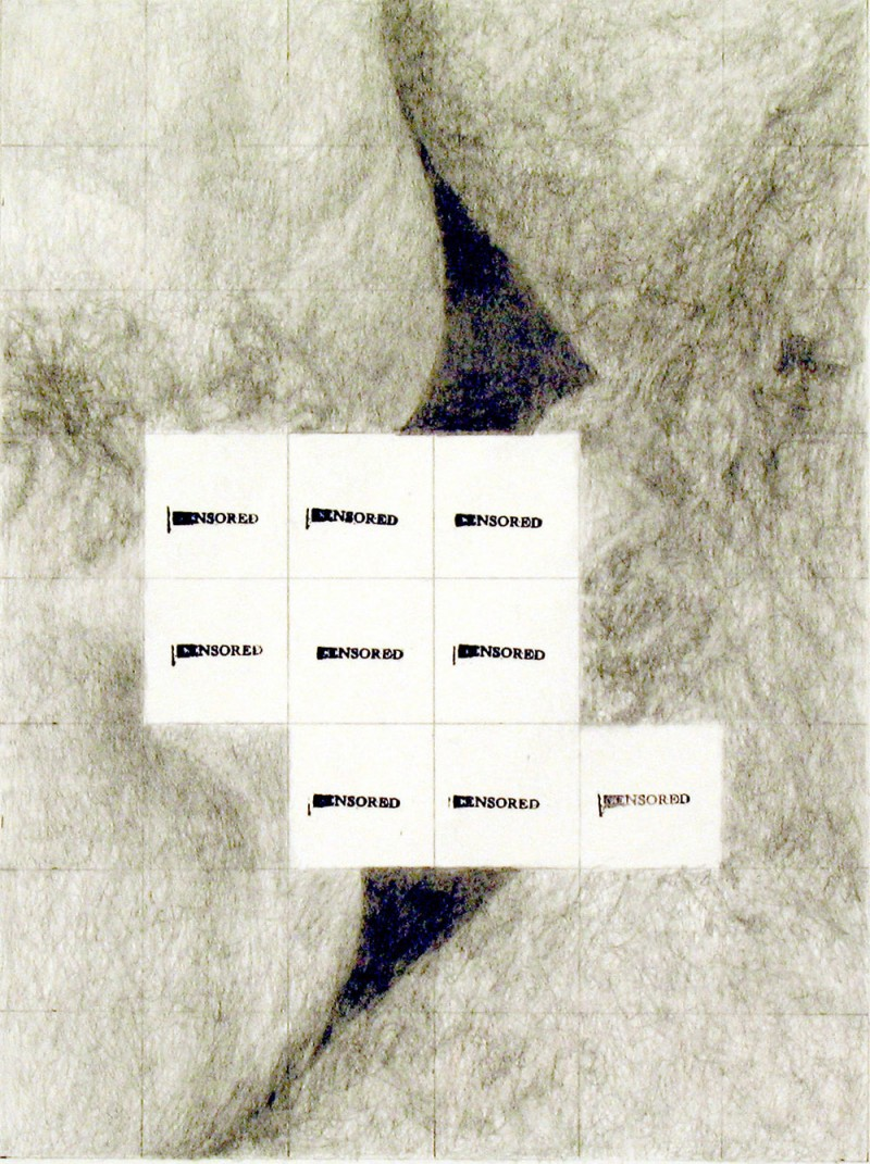 """Betty Tompkins, Censored Grid #10 (2008). Pencil and ink on paper. 17"""" x 14"""" Courtesy of the artist"""