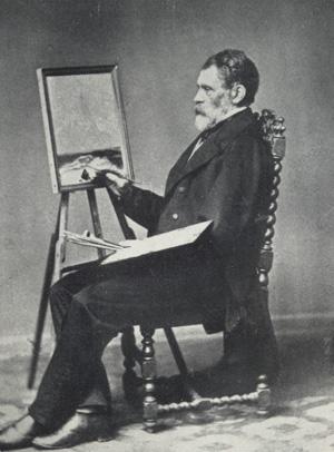Peder Balke med «Stetind i tåke» på staffeliet, cirka 1864. Foto: Privat eie