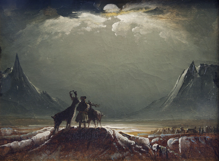 Peder Balke  Sami with Reindeer under the Midnight Sun about 1850. Northern Norway Art Museum, photo Maria Dorothea Schrattenholz