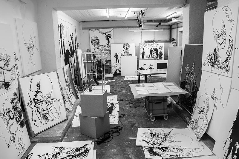 Thomas Kvams studio mens han arbeidet med utstillingen A Natural Born Pollock