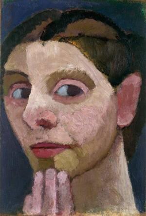 Paula Modersohn-Becker, Selvportræt vendt mod venstre, med hånden på hagen, 1906.  Courtesy:  Niedersächsisches Landesmuseum Hannover, Leihgabe aus Privatbesitz / Louisiana