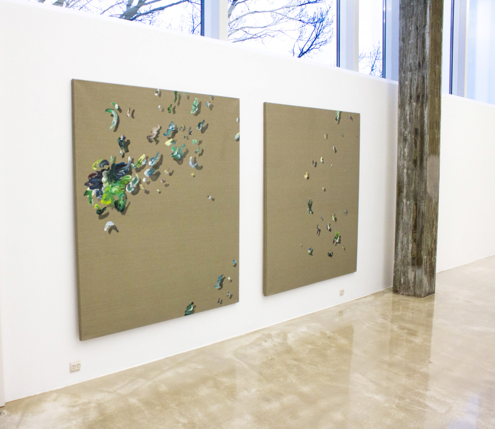 Ingrid Toogood, installasjonsbilde, Vekten av en skygge I-II. Foto: Adrien le Gall / Kristiansand Kunstmuseum